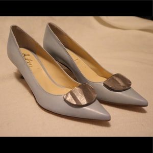 Butter Shoes Light Blue Heels with Silver Pendant